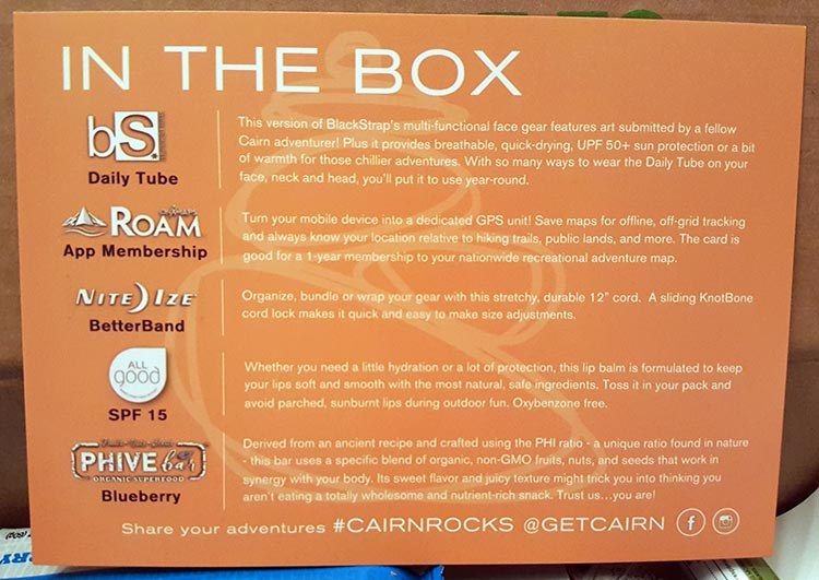 cairn box contents card