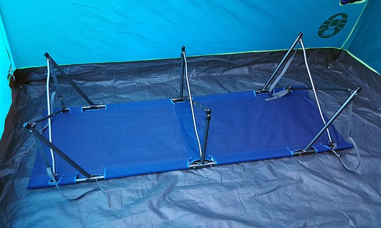 rei camp folding cot step three in set up