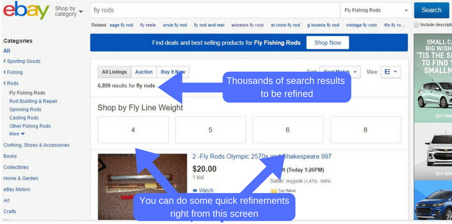 basic fly rod search on ebay