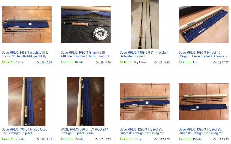 example of fly rods on ebay