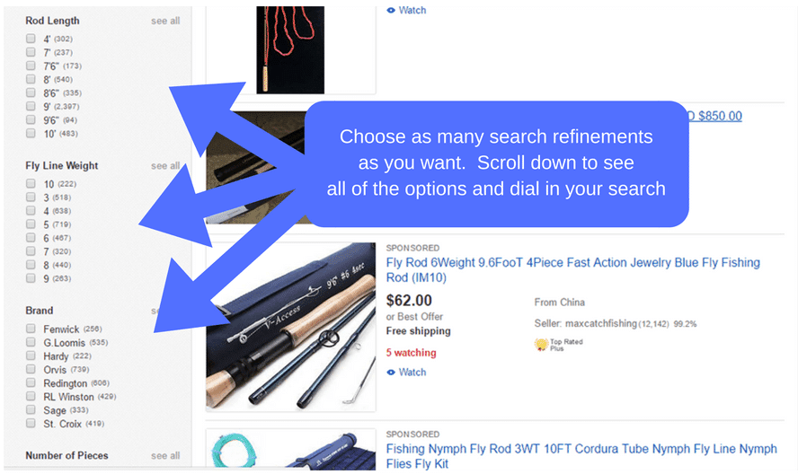 search refinement for fly rods and reels on ebay