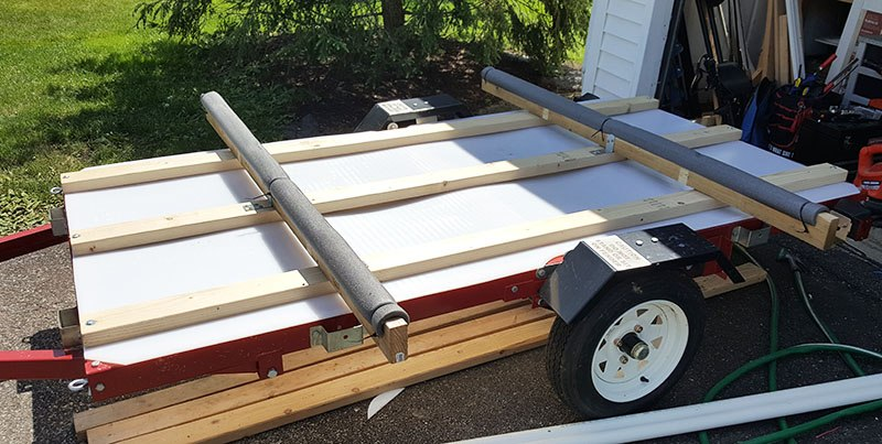 cross beams on the diy kayak trailer 2