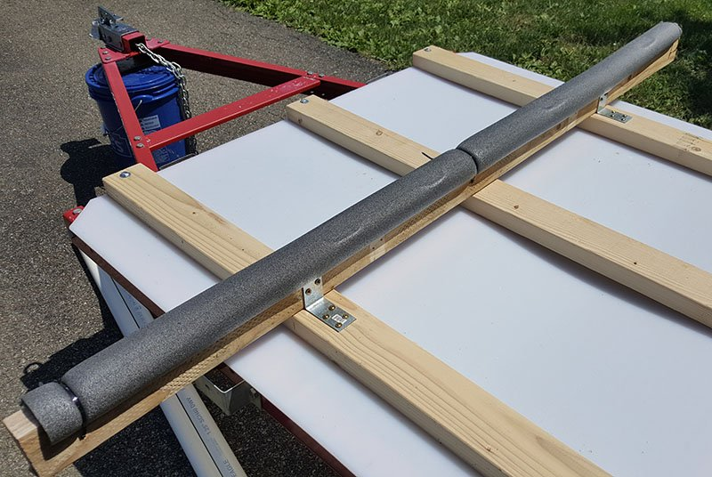 cross beams on the diy kayak trailer