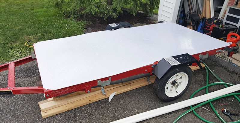 deck on the diy kayak trailer