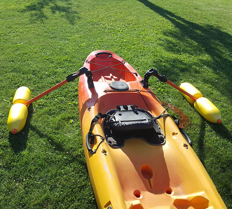 diy kayak outriggers finished