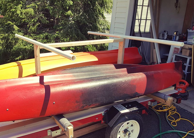 diy kayak trailer top tubes installed