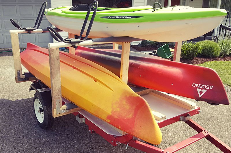 finished kayak trailer