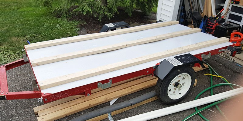 three main beams on the diy kayak trailer